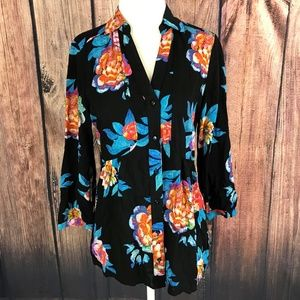 Anthropologie Size 6 Maeve Floral Button Up Peplum